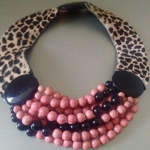 Vintage Exotic Choker Necklace w/Leopard Calf Hair
